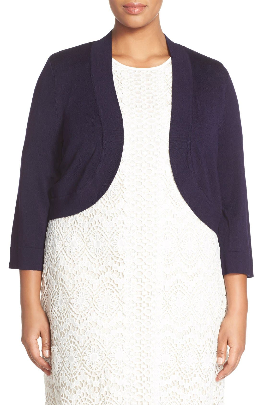 ELIZA J Three Quarter Sleeve Shrug
