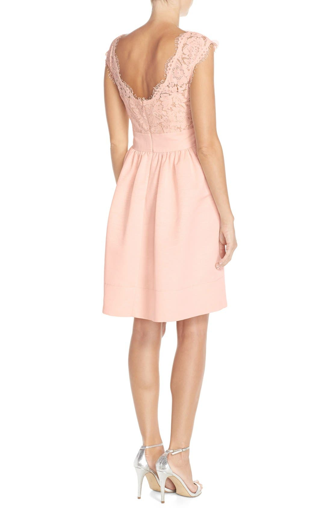 Alternate Image 2  - Eliza J Lace & Faille Dress (Regular & Petite)