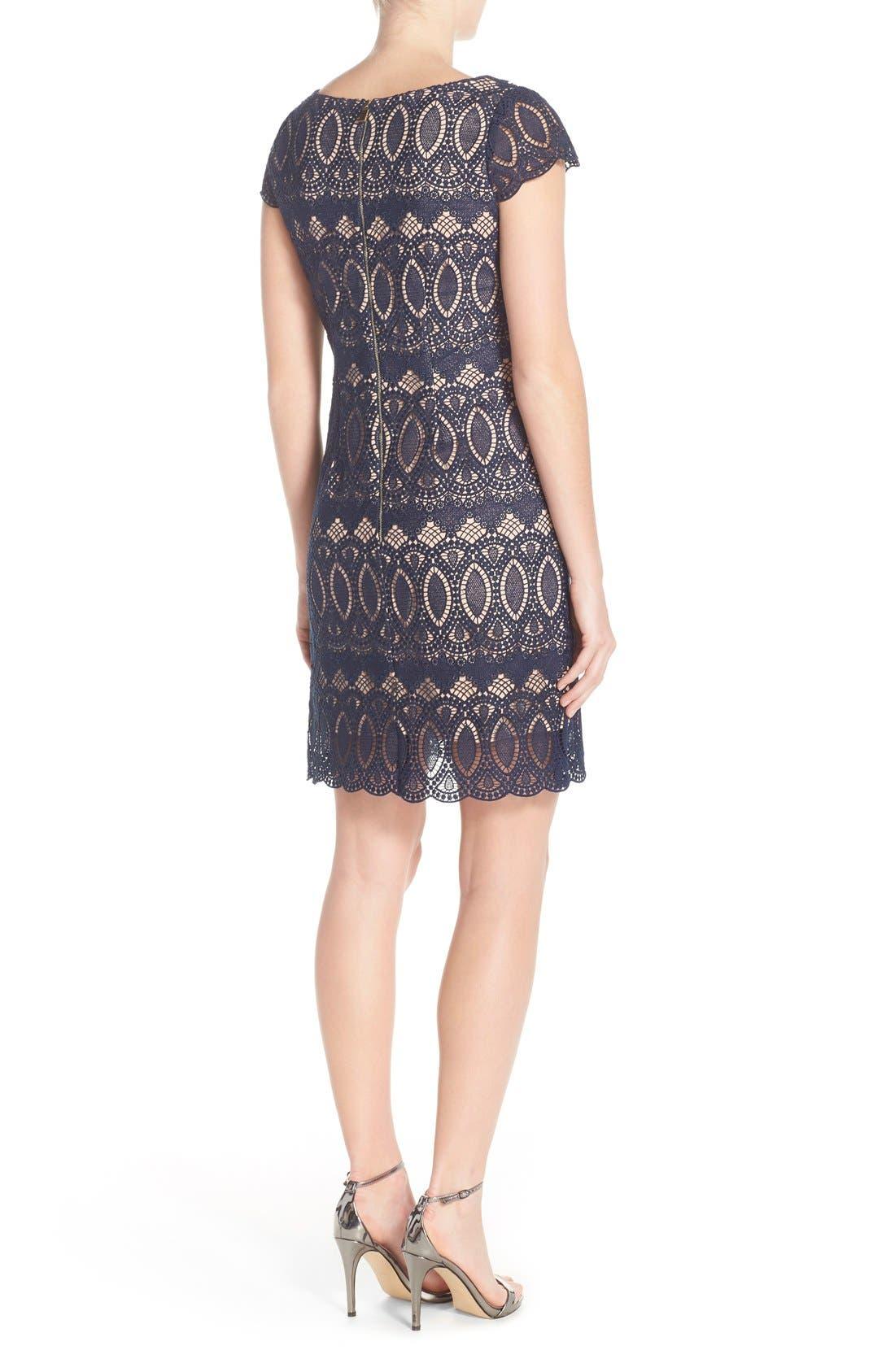 Alternate Image 2  - Eliza J Scalloped Lace Sheath Dress (Regular & Petite)