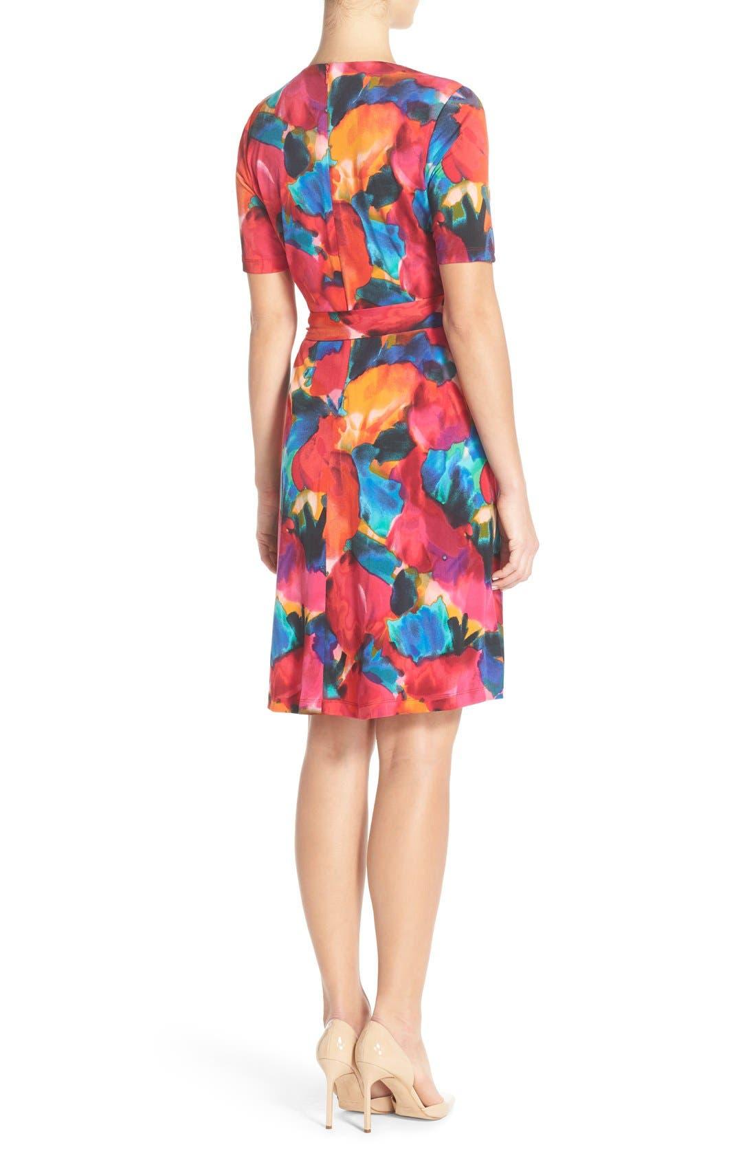 Alternate Image 3  - Ellen Tracy Watercolor Print Jersey Faux Wrap Dress