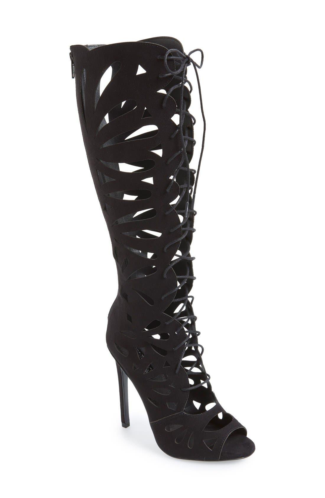 Main Image - Topshop 'Ravishing' Cutout Lace-Up Peep Toe Boot (Women)