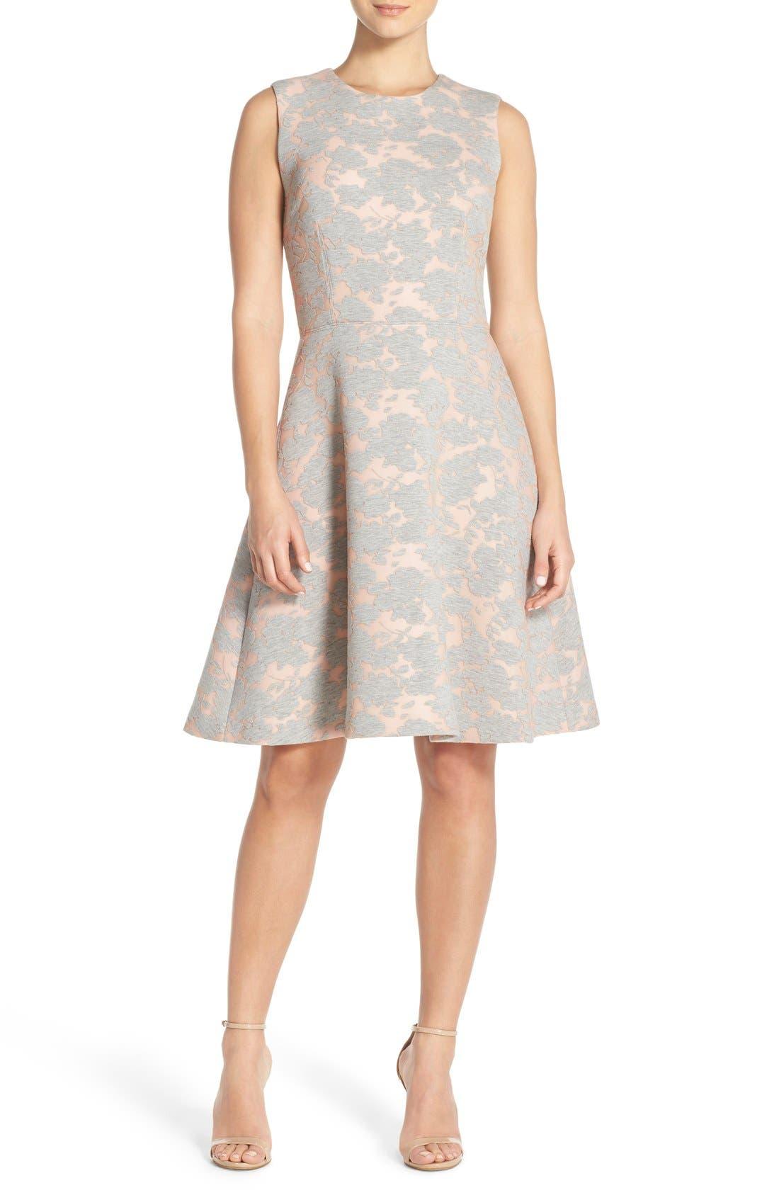 Alternate Image 1 Selected - Maggy London Burnout Jersey Fit & Flare Dress (Regular & Petite)