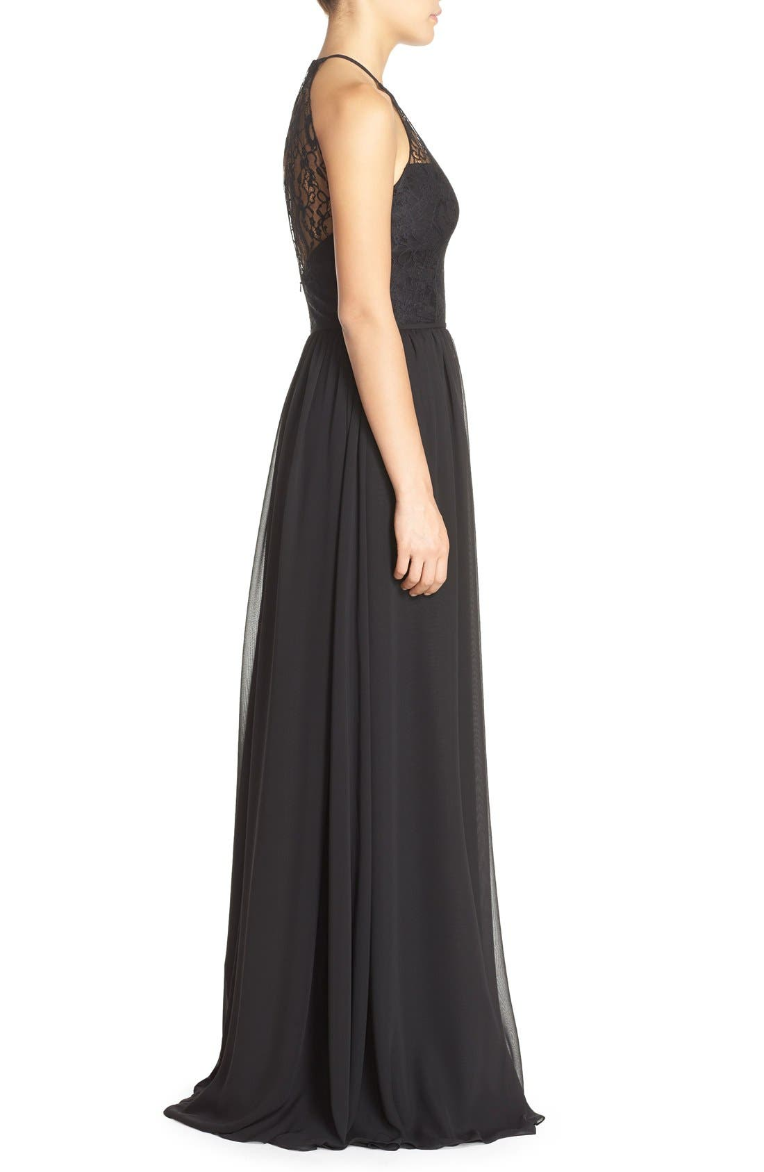 Alternate Image 3  - Hayley Paige Occasions Lace & Chiffon Halter Gown
