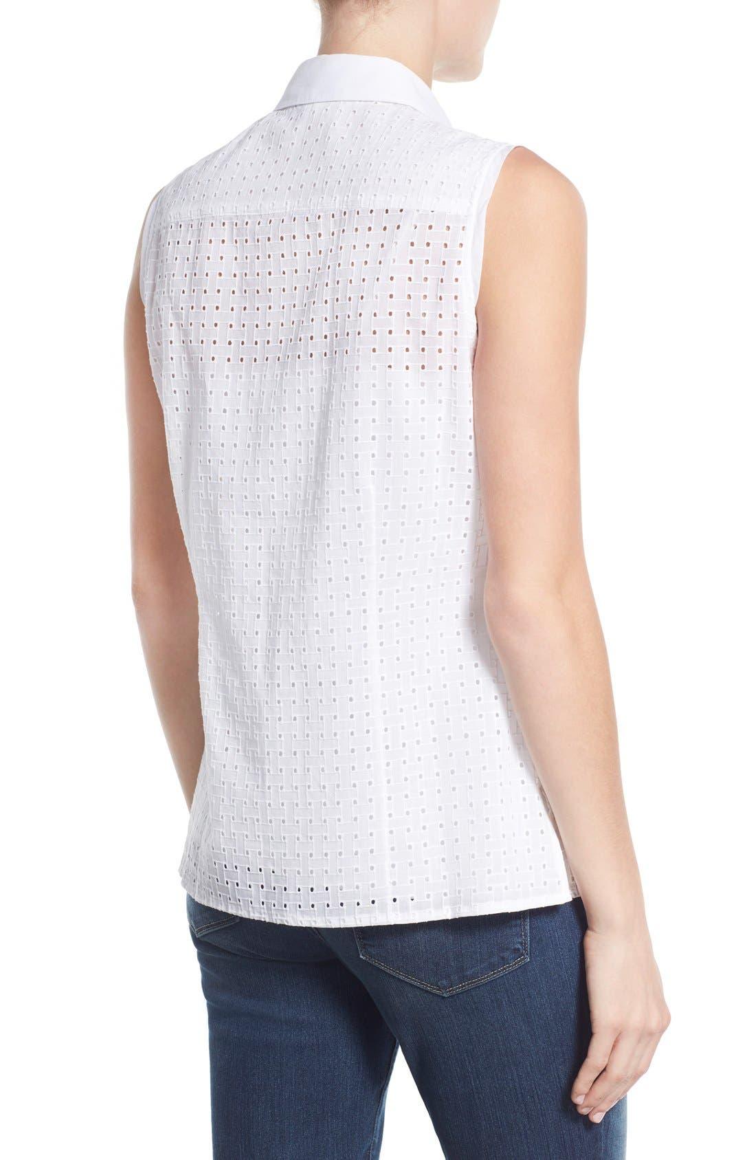 Alternate Image 2  - Foxcroft Basket Weave Eyelet Sleeveless Shirt
