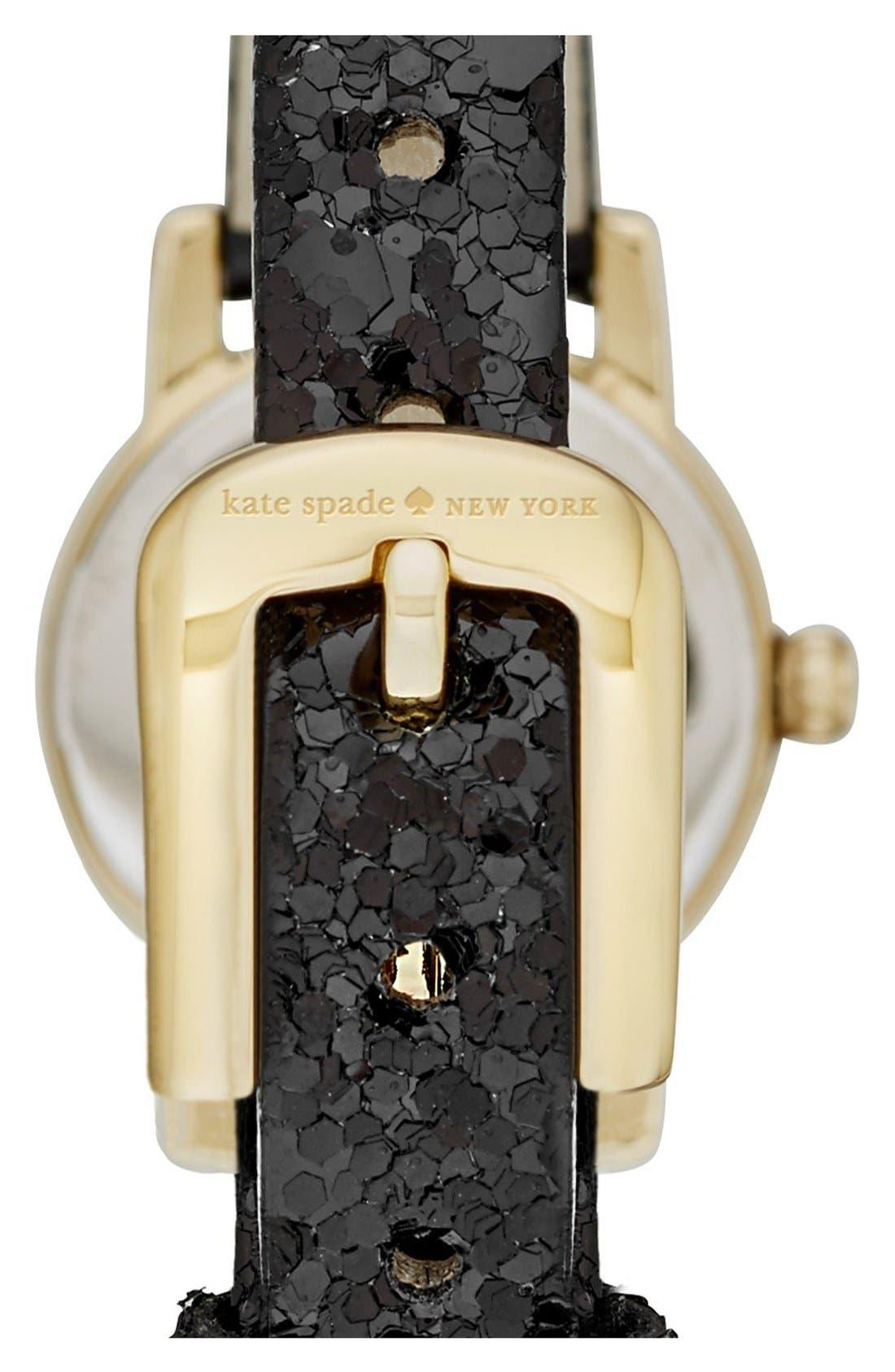 Alternate Image 2  - kate spade new york 'tiny metro' embellished leather strap watch, 20mm