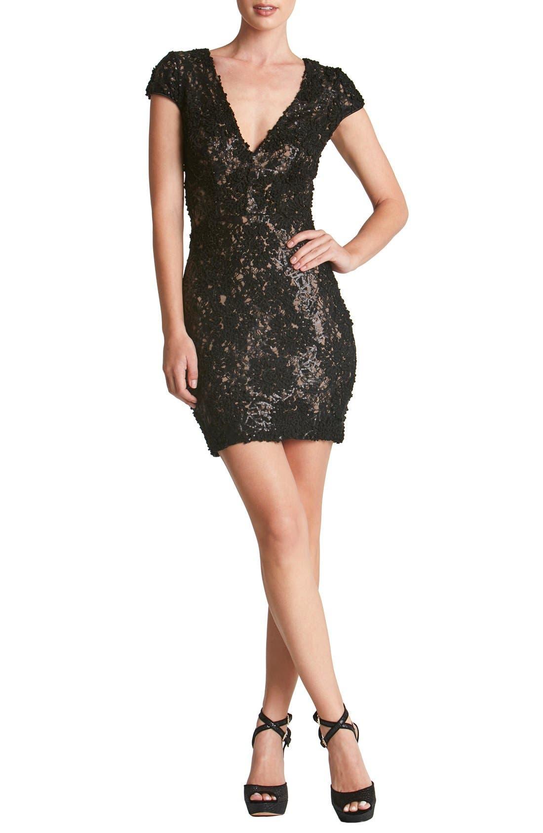 Dress the Population 'Zoe' Embellished Mesh Body-Con Dress