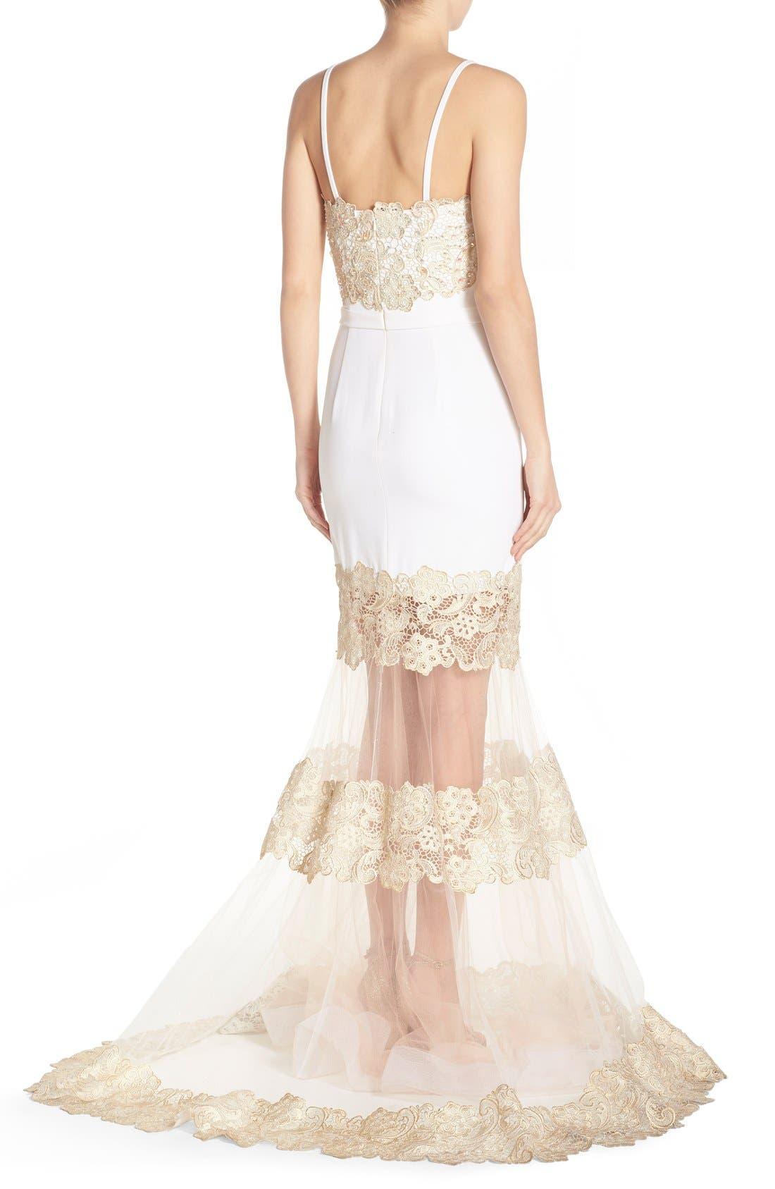 Alternate Image 2  - Terani Couture Illusion Lace & Crepe Mermaid Gown