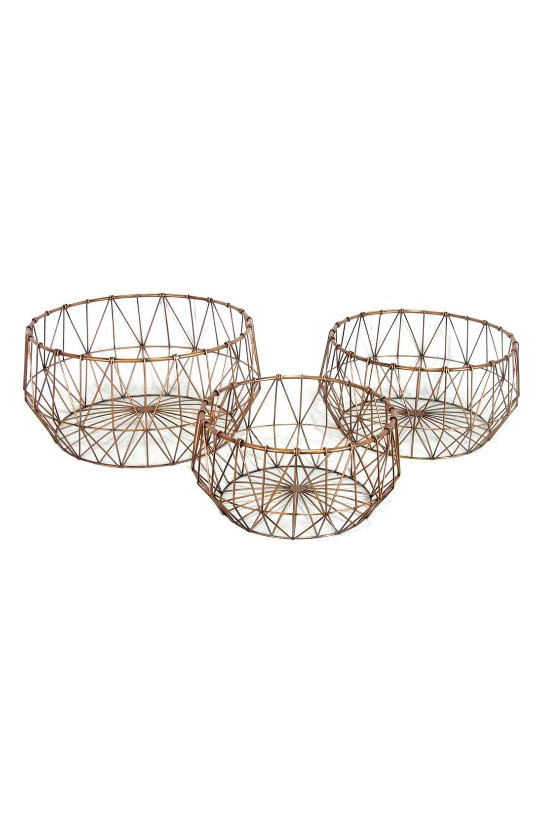 Alternate Image 1 Selected - Crystal Art Gallery Copper Wire Baskets (Set of 3)