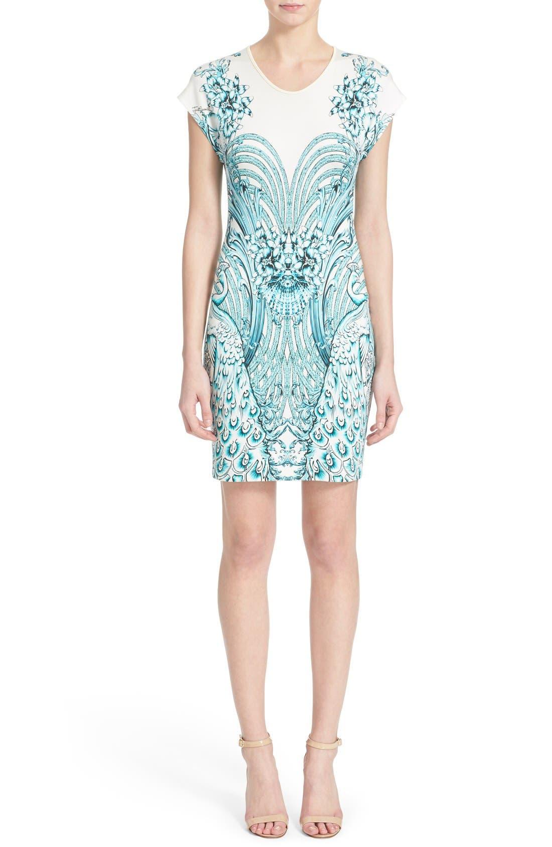 Main Image - Just Cavalli Peacock Jersey Body-Con Dress