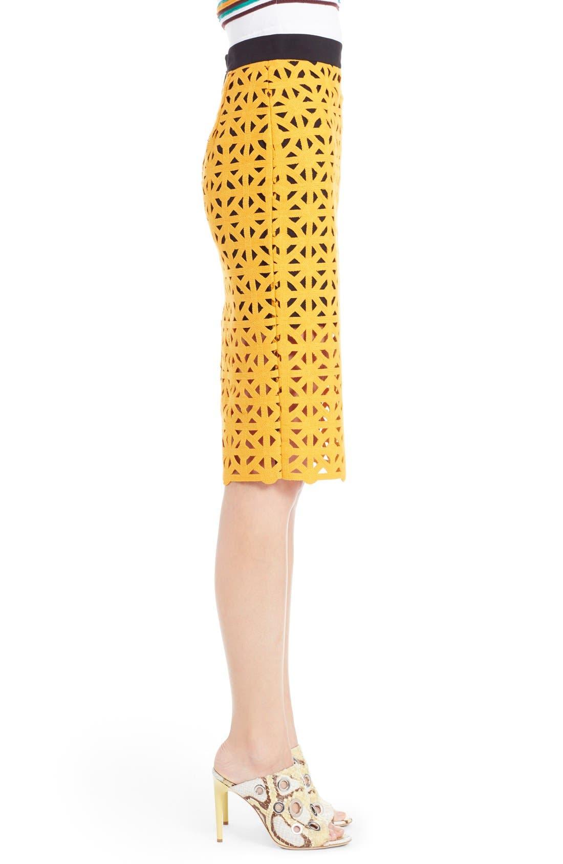 Alternate Image 3  - MSGM Geometric Cutout Cotton Pencil Skirt