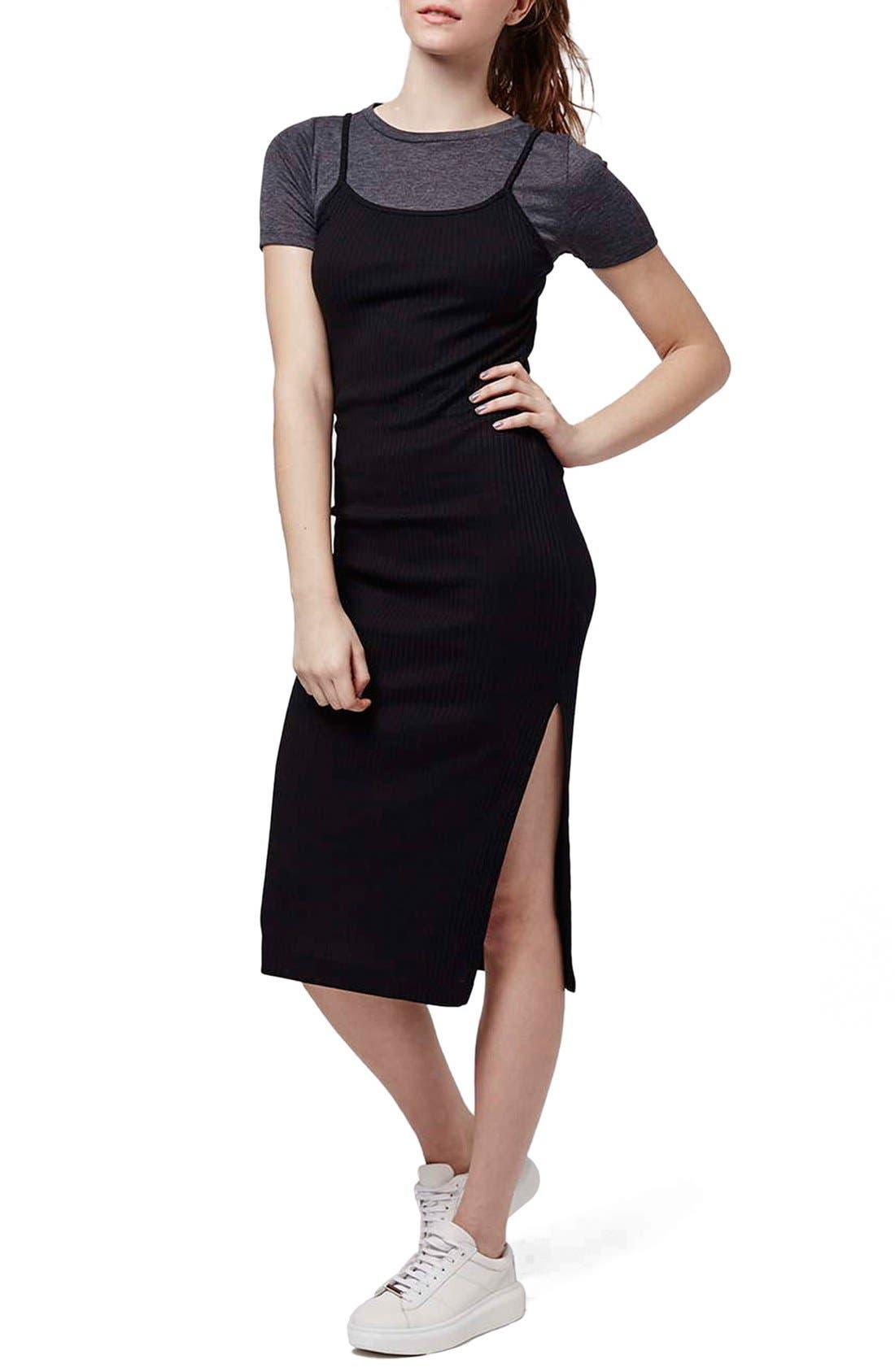 Alternate Image 1 Selected - Topshop Layered Midi Dress