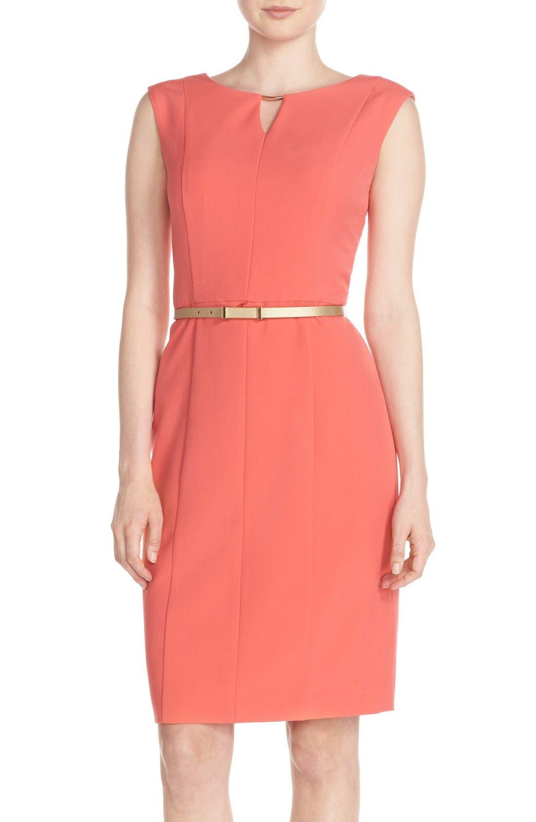Alternate Image 1 Selected - Ellen Tracy Belted Sheath Dress (Regular & Petite)