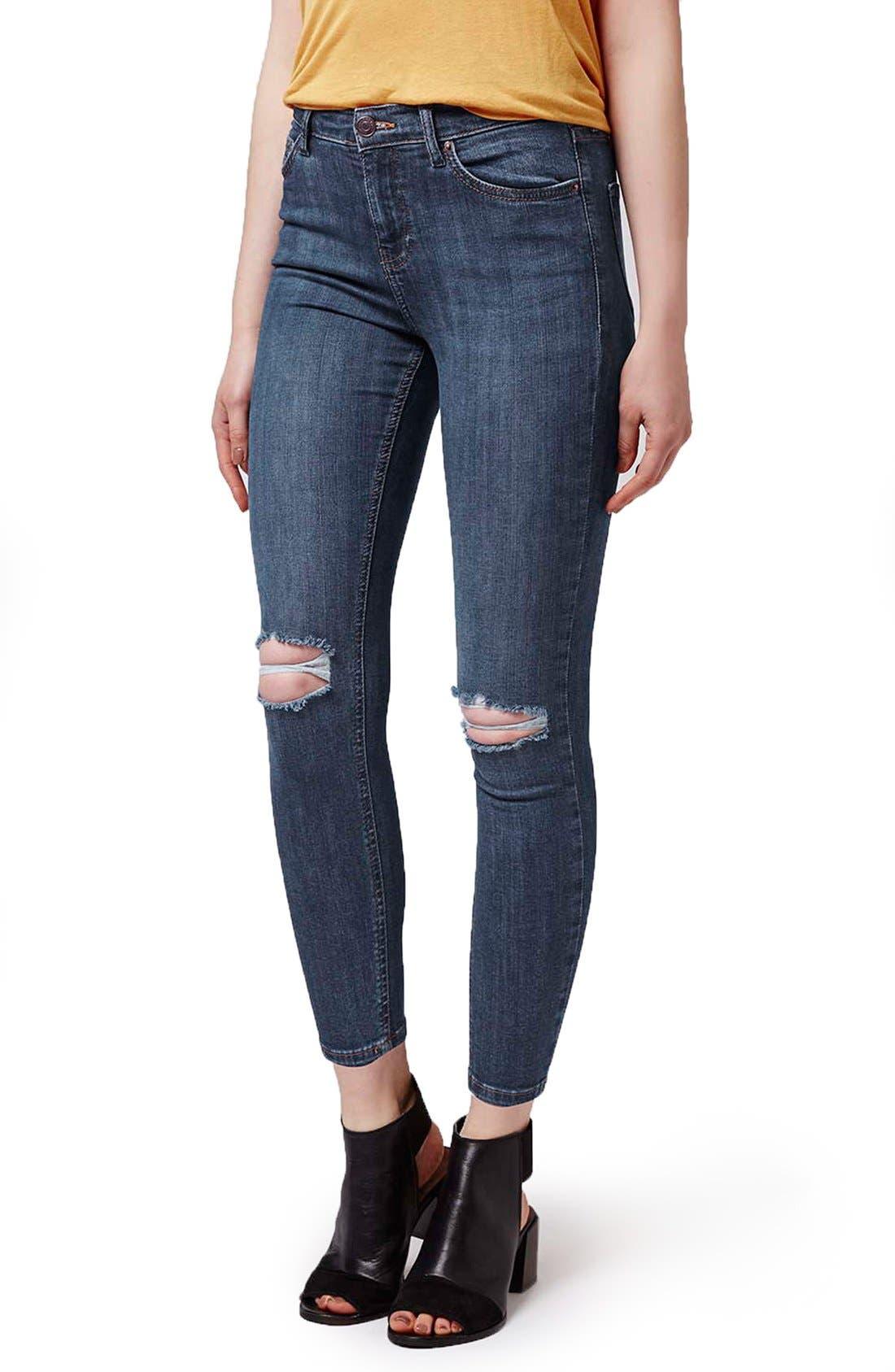 Alternate Image 1 Selected - Topshop 'Jamie' Ripped Crop Skinny Jeans (Navy Blue) (Petite)
