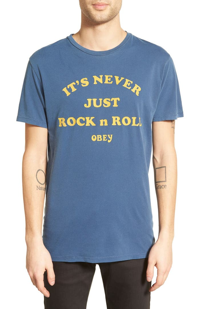 Obey 39 it 39 s never just rock n roll 39 graphic t shirt nordstrom for Rock and roll shirt shop
