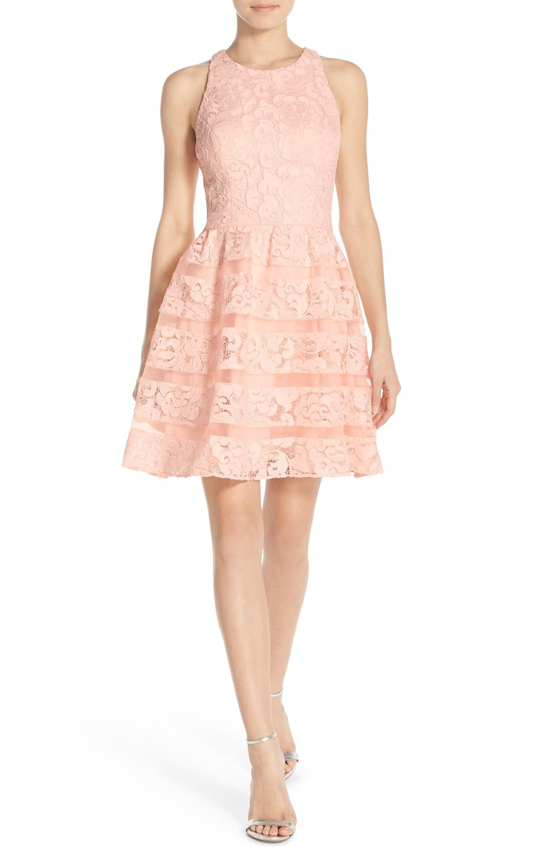 Alternate Image 4  - Aidan by Aidan Mattox Organza Shadow Stripe Lace Fit & Flare Dress