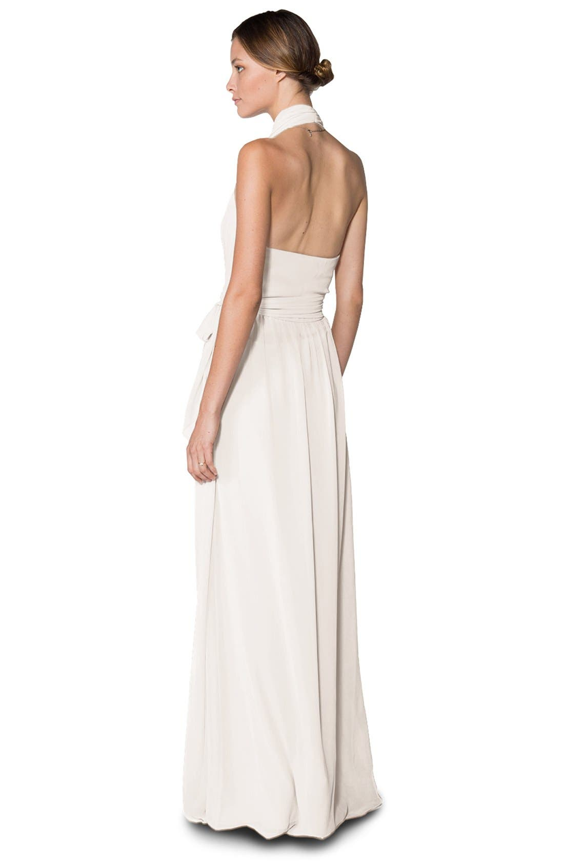 Alternate Image 2  - Ceremony by Joanna August 'Amber' Side Tie Chiffon Halter Gown