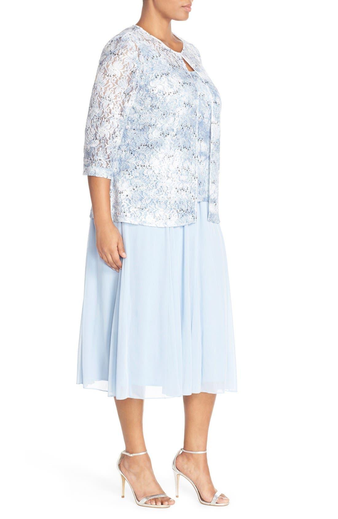 Alternate Image 4  - Alex Evenings Mesh Skirt (Plus Size)