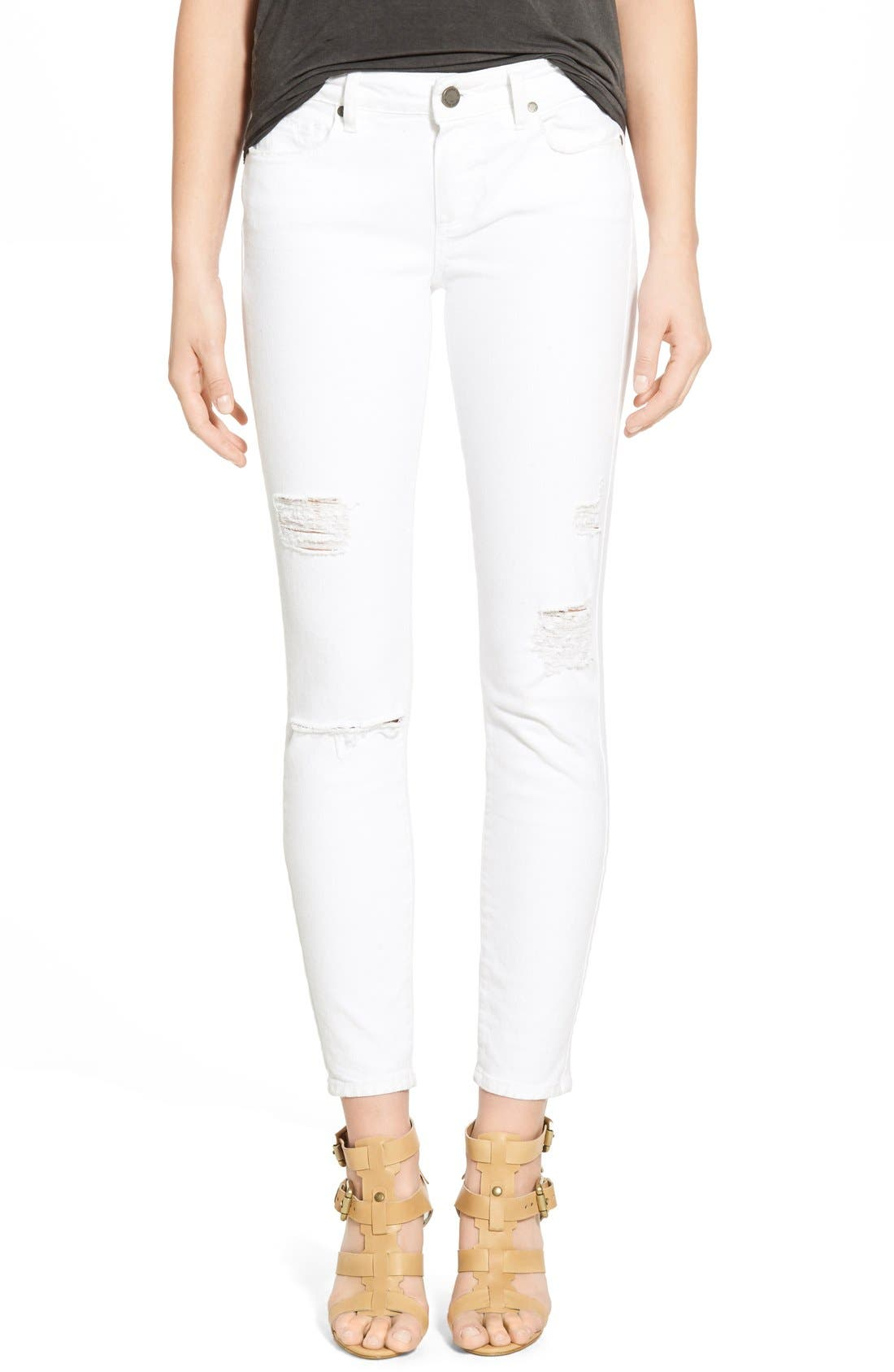 Main Image - PAIGE 'Verdugo' Ankle Skinny Jeans (Arctic White Destructed)