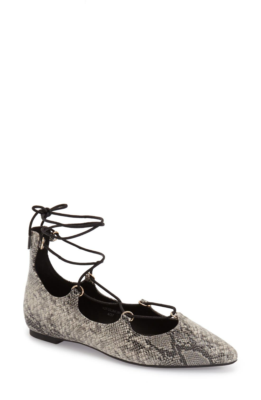 Main Image - Topshop 'Fancy' Pointy Toe Ghillie Flat (Women)