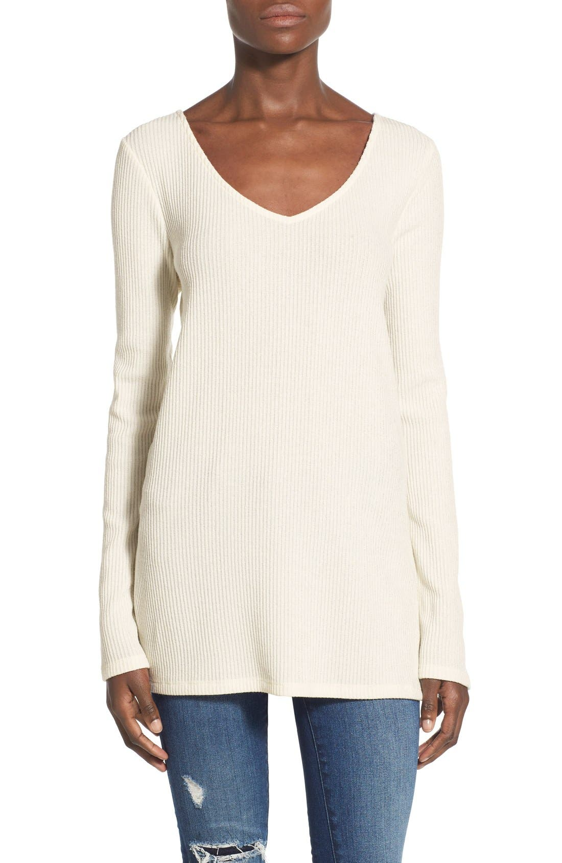 Main Image - Leith Ribbed Knit Tunic Sweater