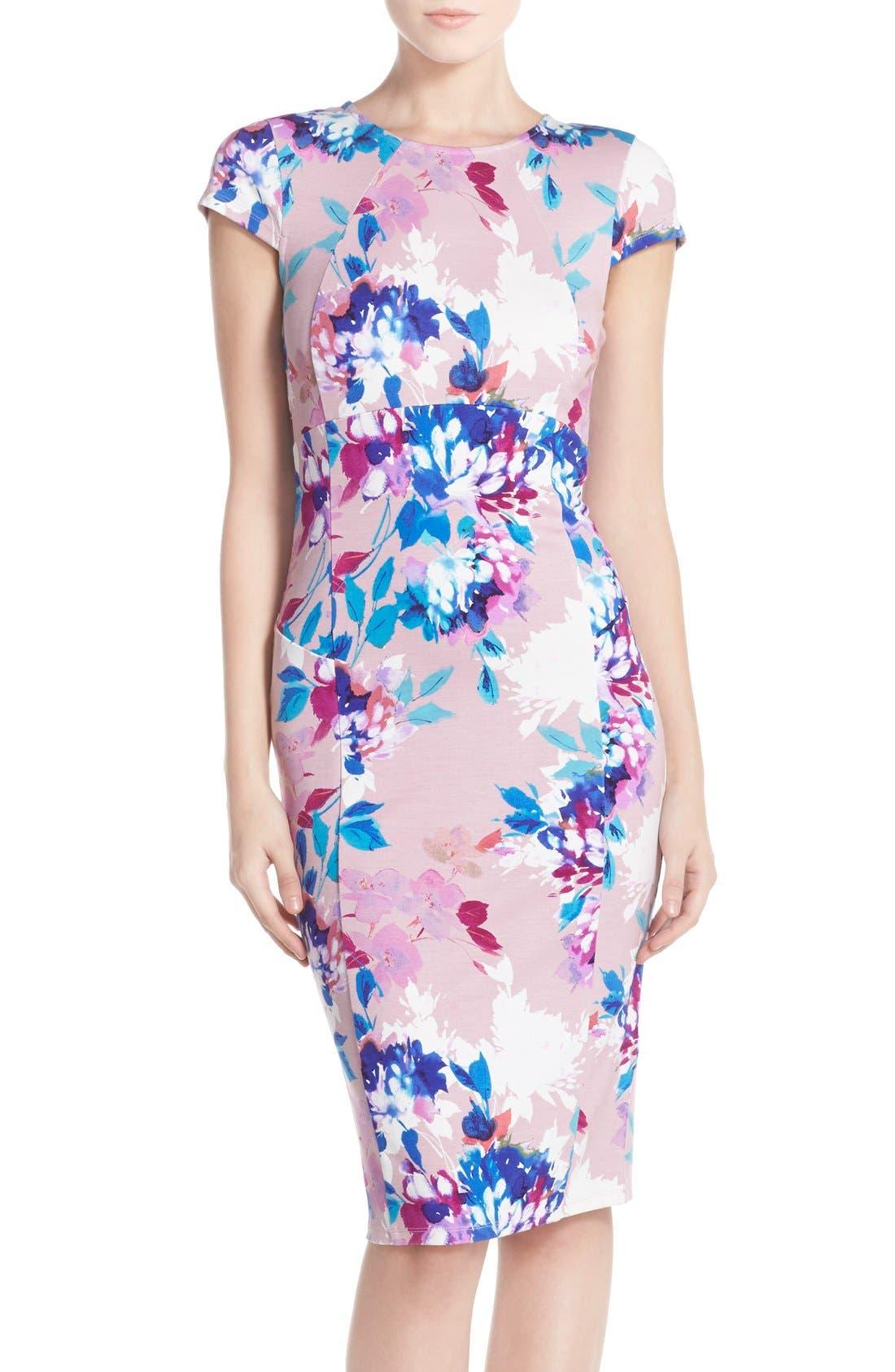 Main Image - Felicity & Coco Floral Ponte Sheath Dress (Regular & Petite) (Nordstrom Exclusive)