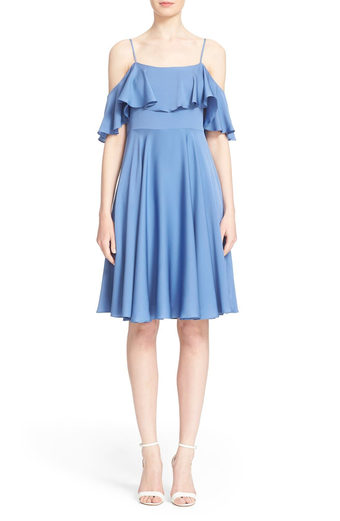 Main Image - Milly 'Emmaline' Ruffle Stretch Silk Dress