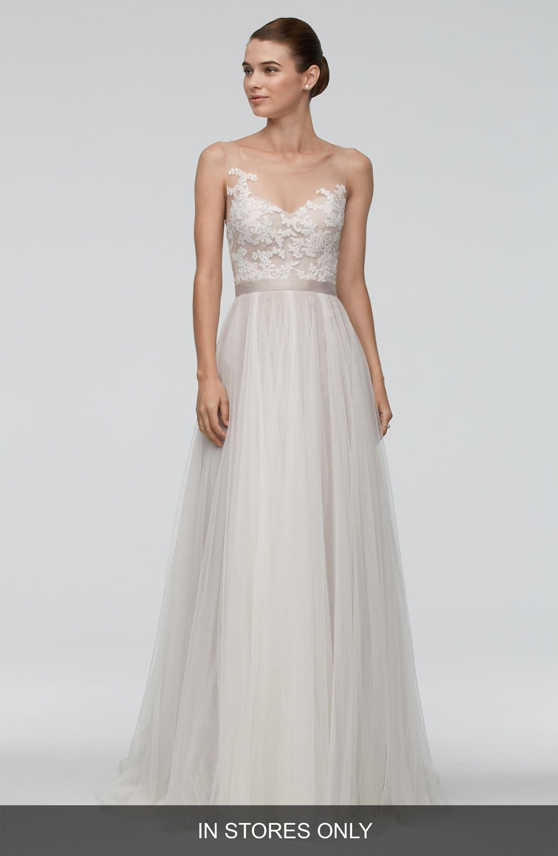 Watters 'Azriel' Illusion Neckline Lace & Net A-Line Gown (In Stores Only)