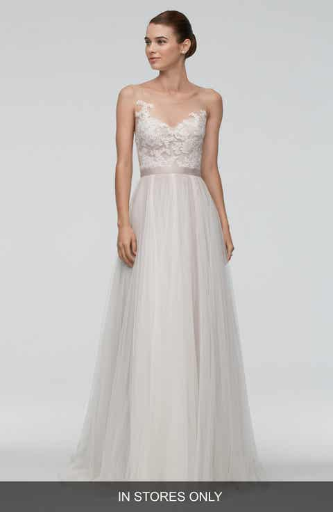 Watters 'Azriel' Illusion Neckline Lace   Net A-Line Gown (In Stores Only)