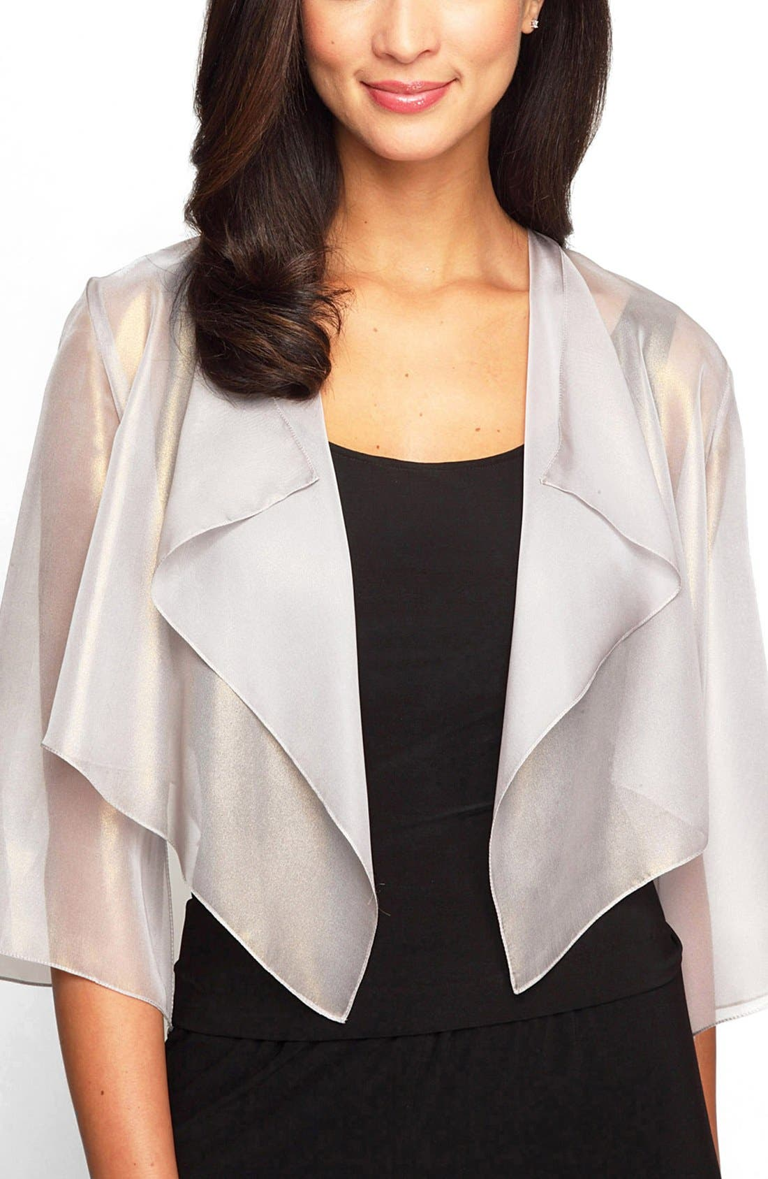 Alex Evenings Ruffle Drape Jacket