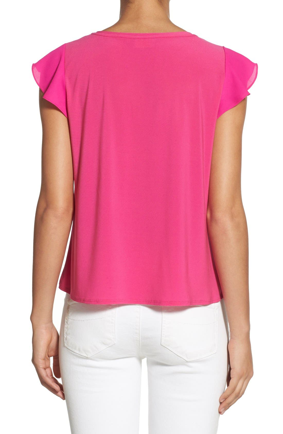Alternate Image 2  - CeCe by Cynthia Steffe Chiffon Flutter Sleeve Tee