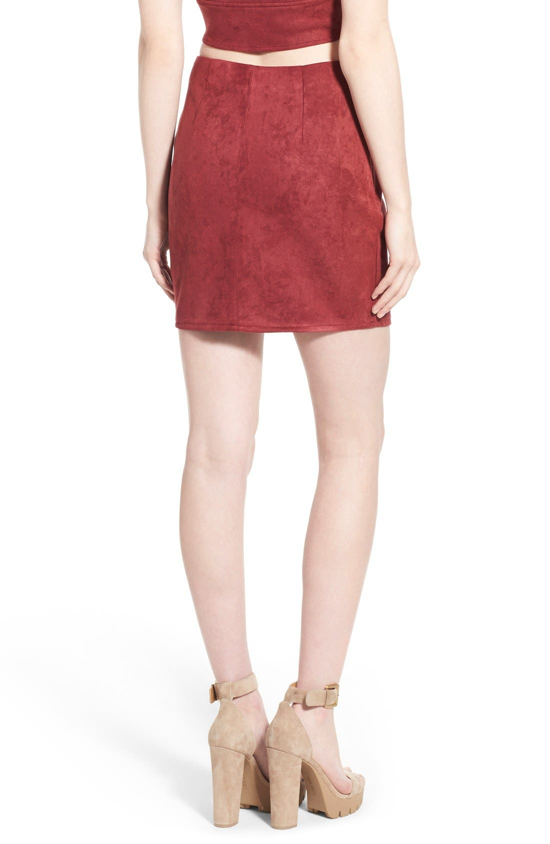 Alternate Image 2  - Missguided Faux Suede Miniskirt