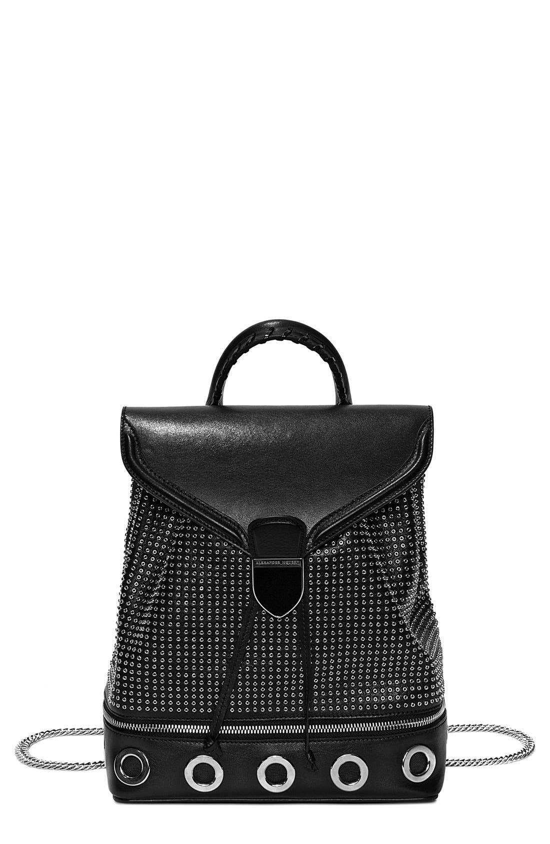 Main Image - Alexander McQueen 'Small Legend' Eyelet Leather Backpack