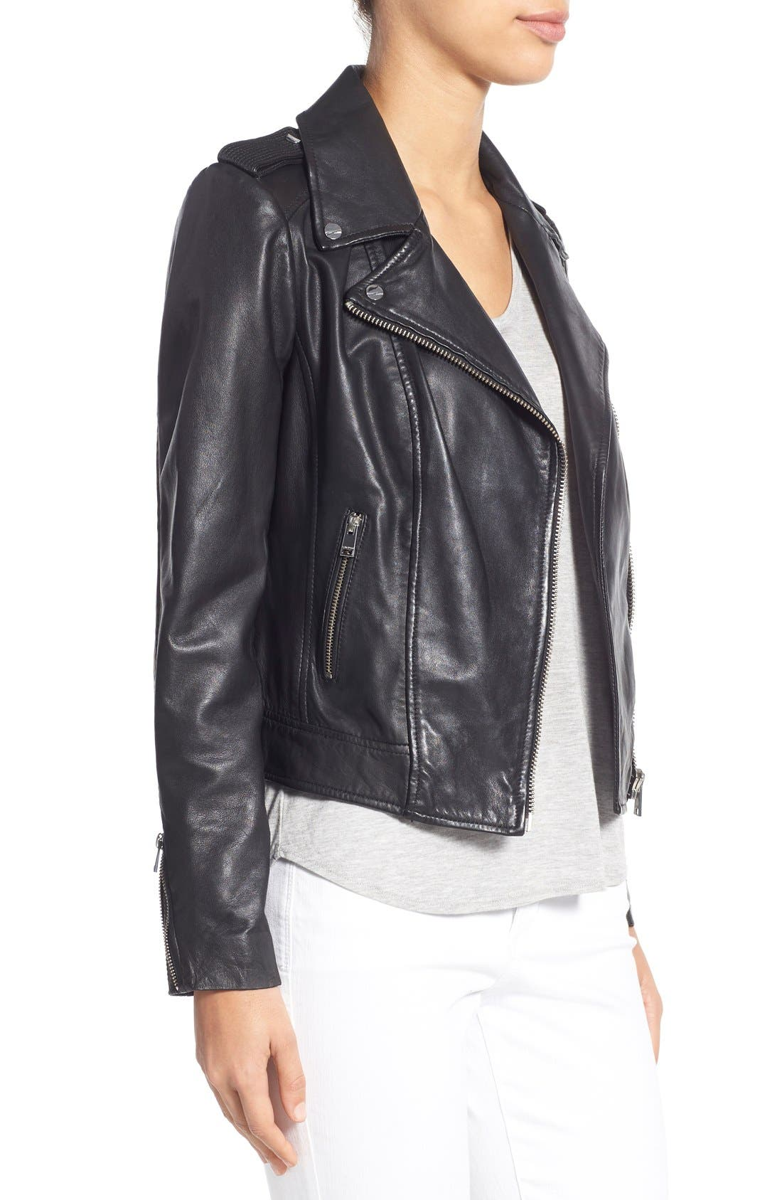 Alternate Image 3  - LAMARQUE Donna Lambskin Leather Moto Jacket