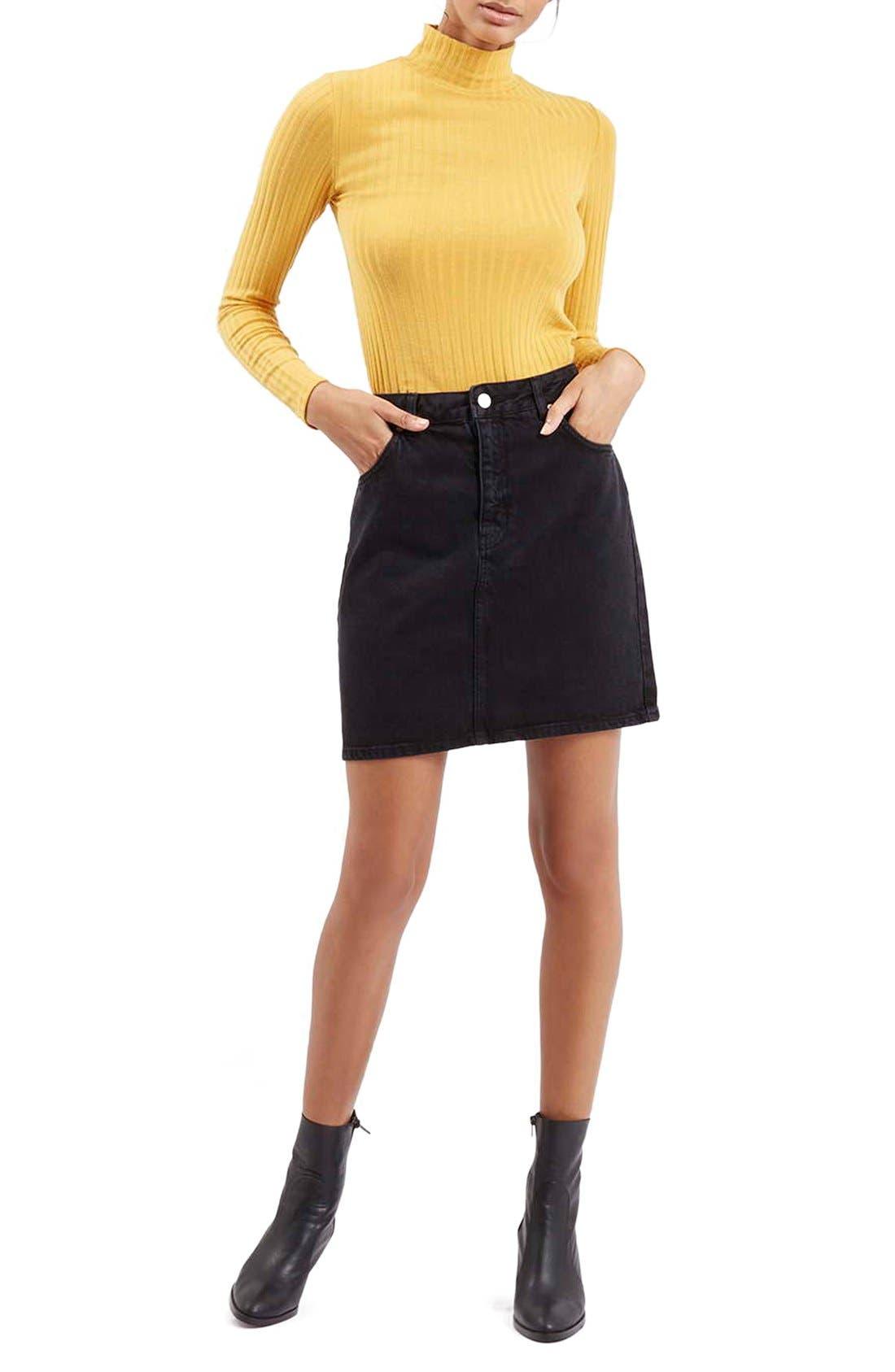 Alternate Image 2  - Topshop Denim A-Line Skirt