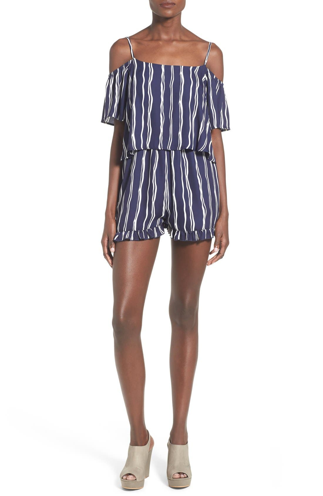 Alternate Image 1 Selected - Cream and Sugar Print Off the Shoulder Popover Romper