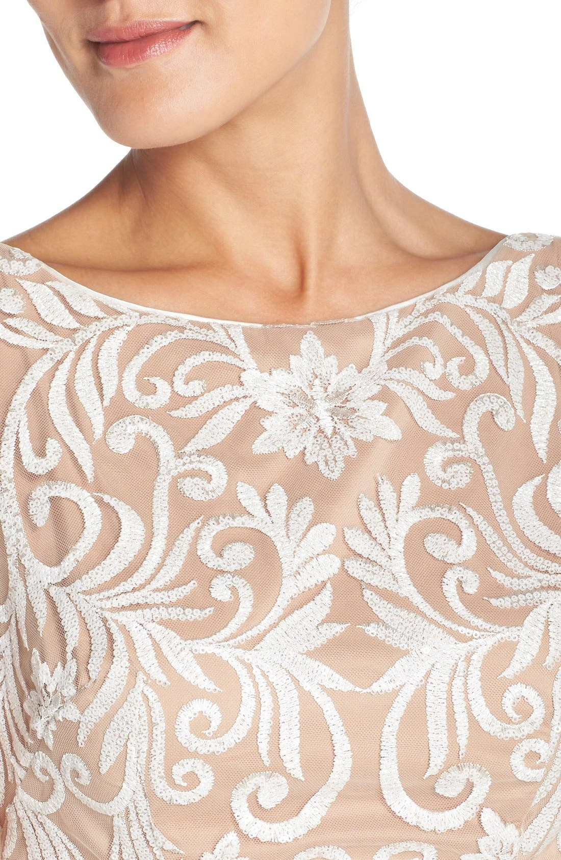 Alternate Image 5  - Adrianna Papell Sequin Embroidered Bateau Neck Sheath Dress