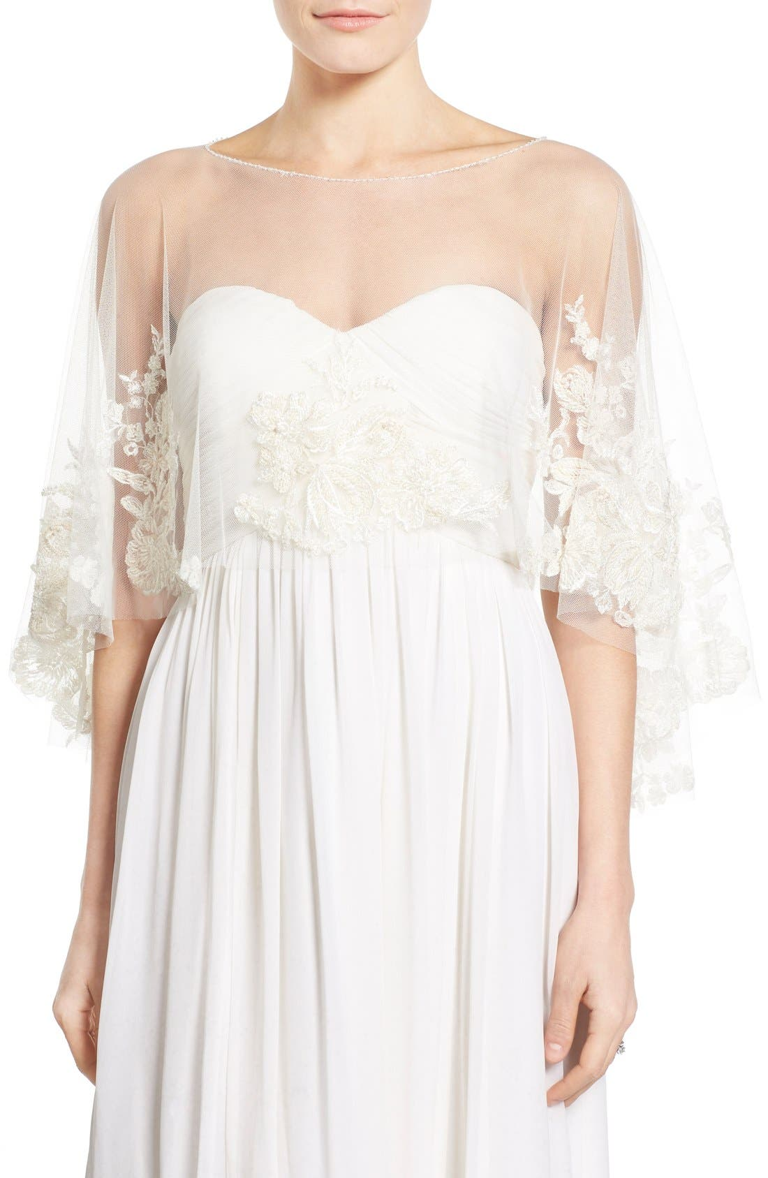 Jenny Yoo Ophelia Embroidered Tulle Capelet