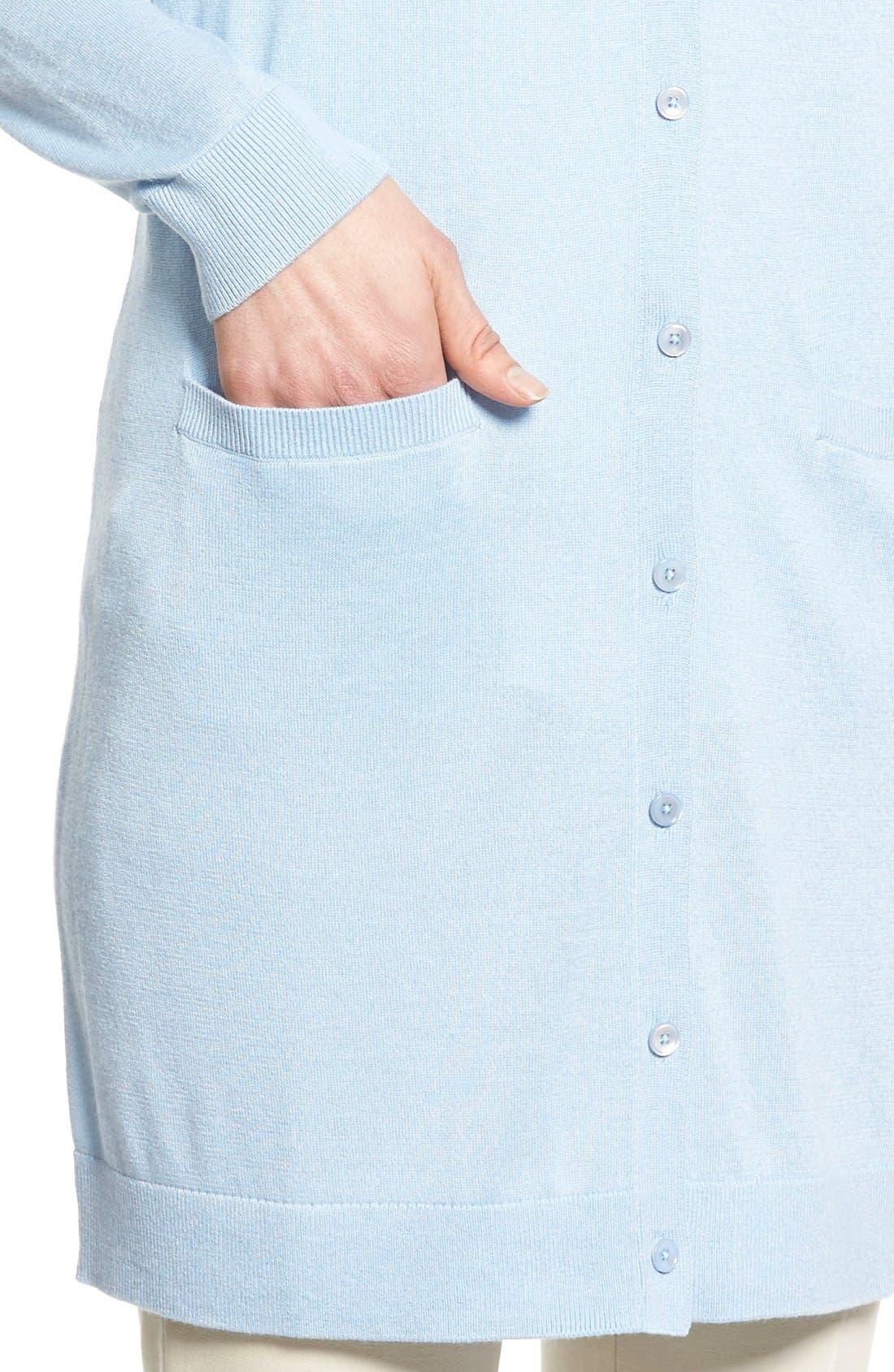 Alternate Image 4  - Nordstrom Collection Silk & Cashmere Long V-Neck Cardigan