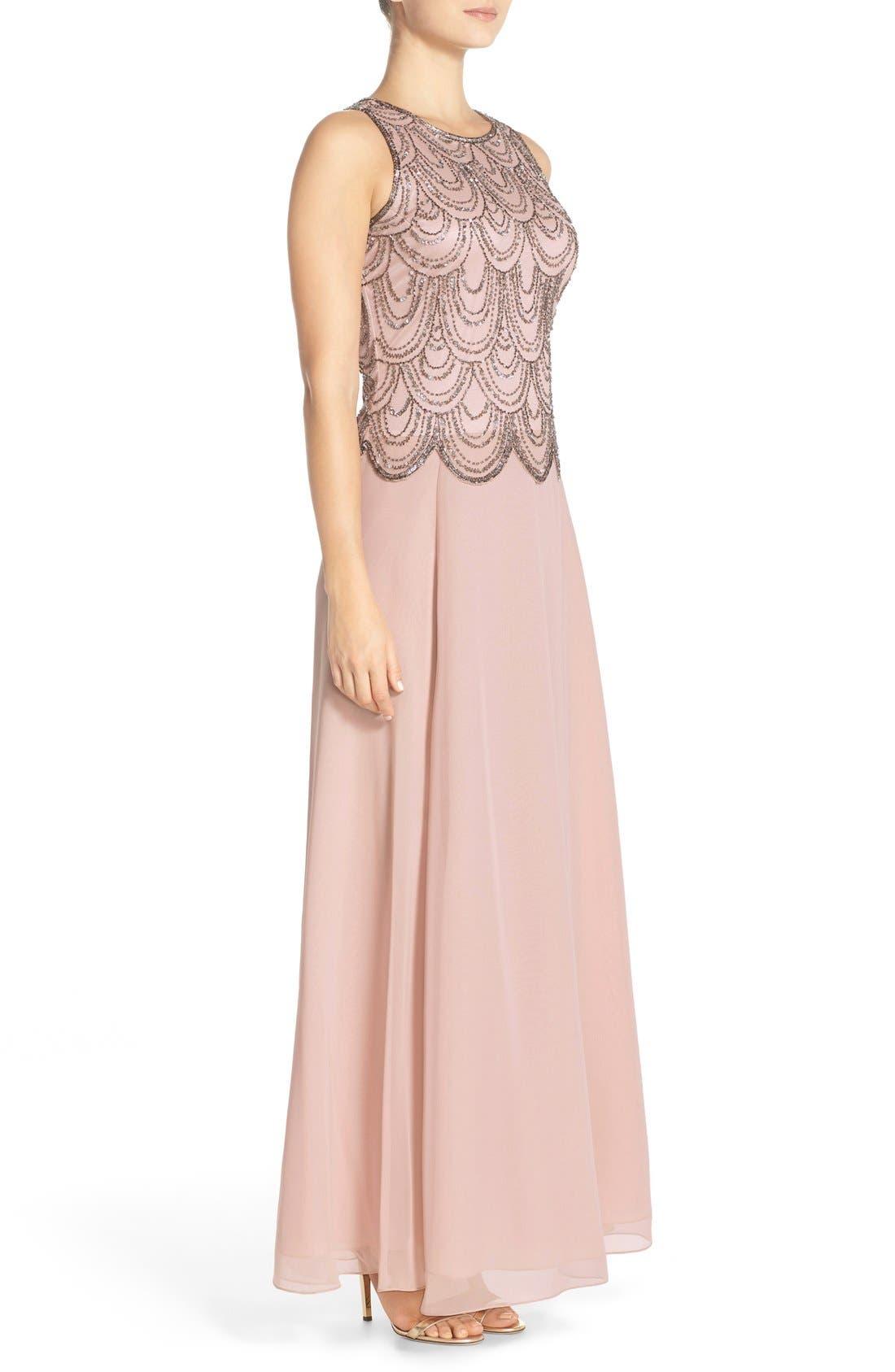Alternate Image 3  - J Kara Scallop Embellished Popover Chiffon Gown