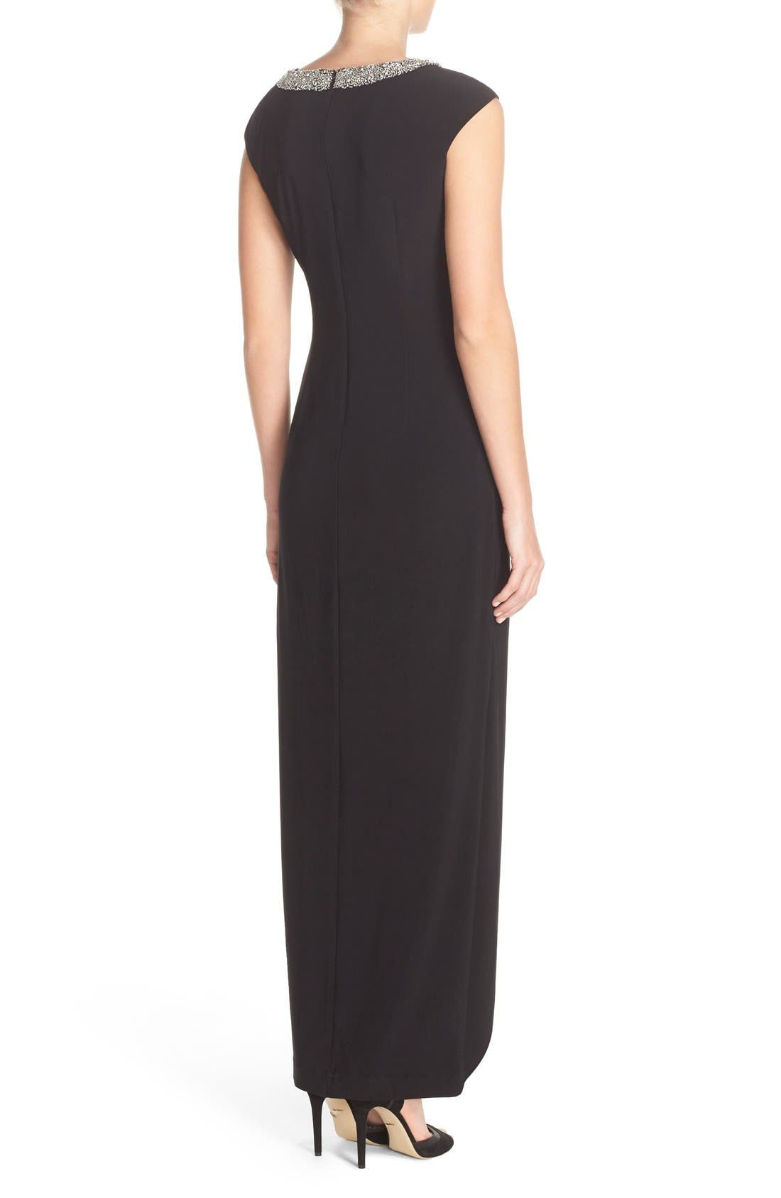 Alternate Image 2  - Alex Evenings Beaded Neck Ruched Jersey Gown (Regular & Petite)