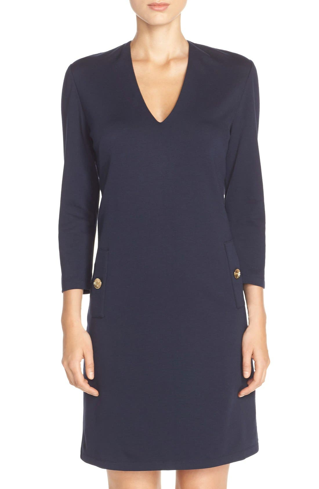 Main Image - Eliza J Button Pockets Ponte A-Line Dress (Regular & Petite)