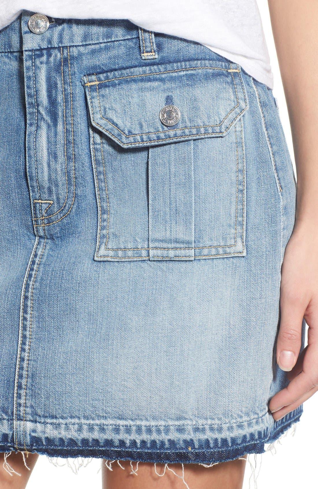 Alternate Image 4  - 7 For All Mankind® Utility Pocket Denim Miniskirt (Vintage Coronado Springs)