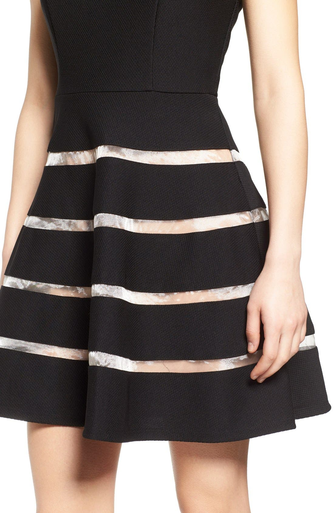 Alternate Image 4  - Way-In Inset Stripe Skater Dress