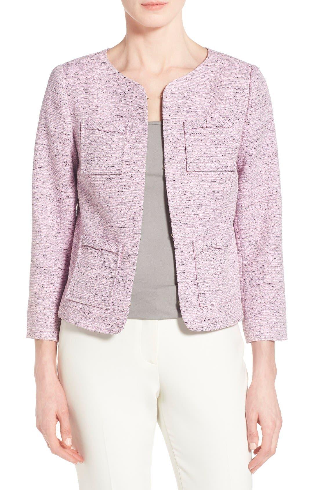 Main Image - CeCe by Cynthia Steffe Four-Pocket Collarless Tweed Jacket