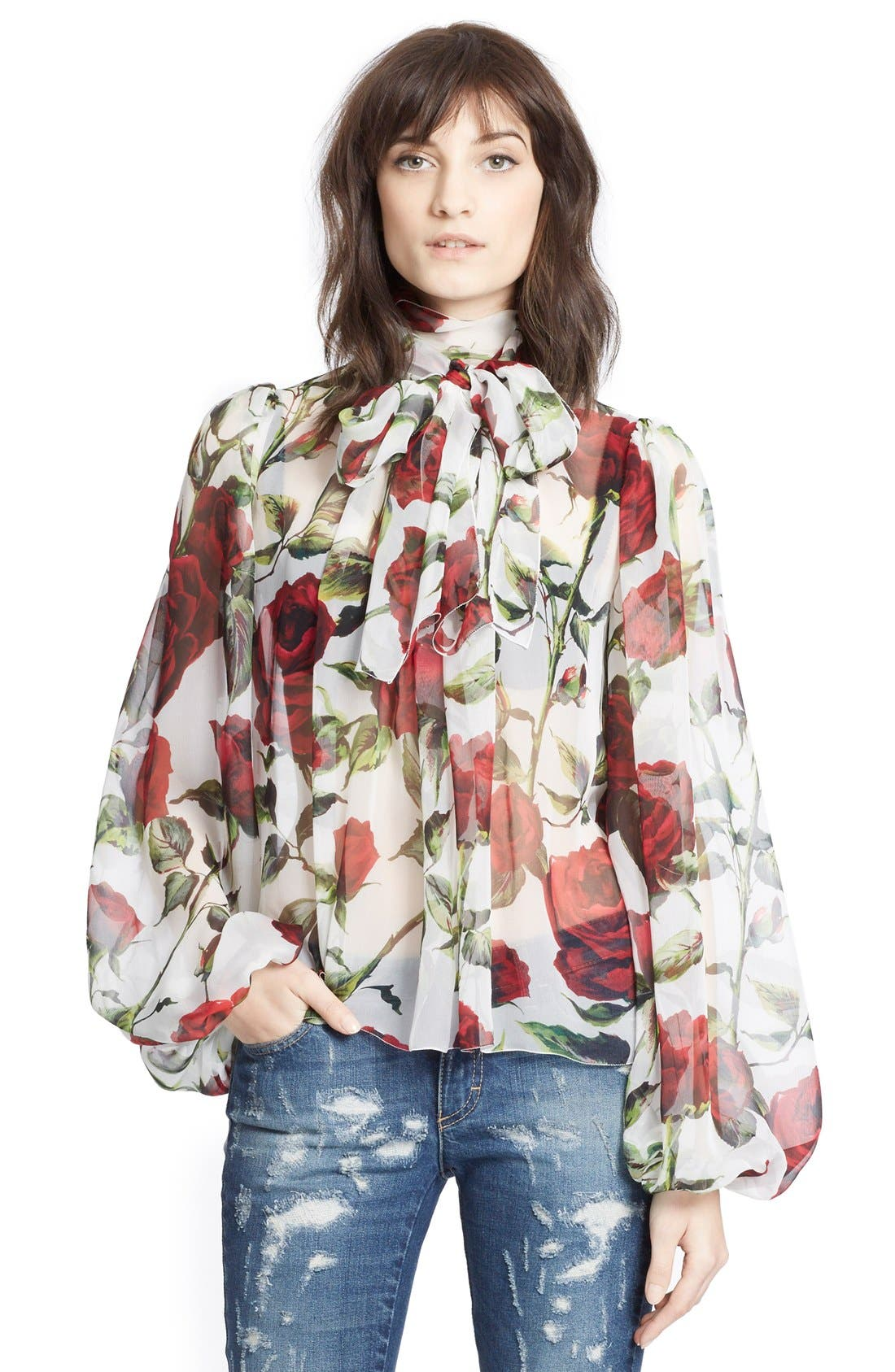 Alternate Image 5  - Dolce&Gabbana Tie Neck Rose Print Chiffon Blouse