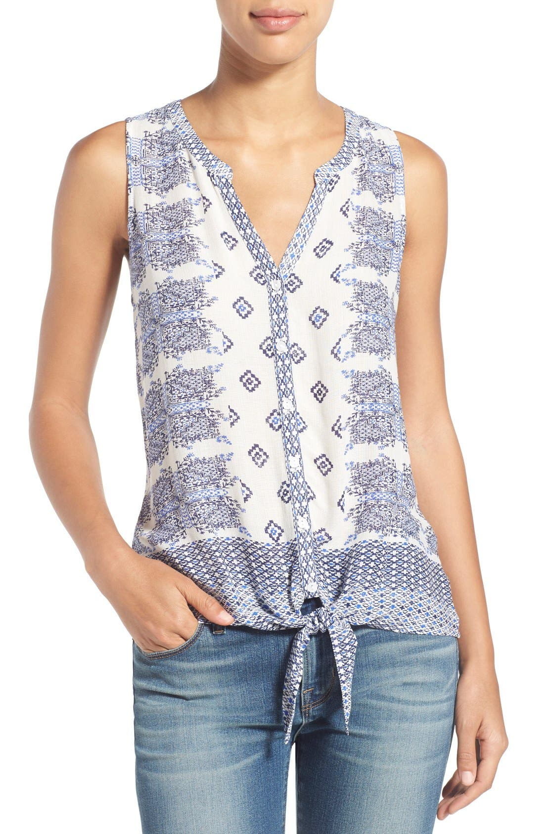 Main Image - Lucky Brand Geo Print Sleeveless Tie Front Top
