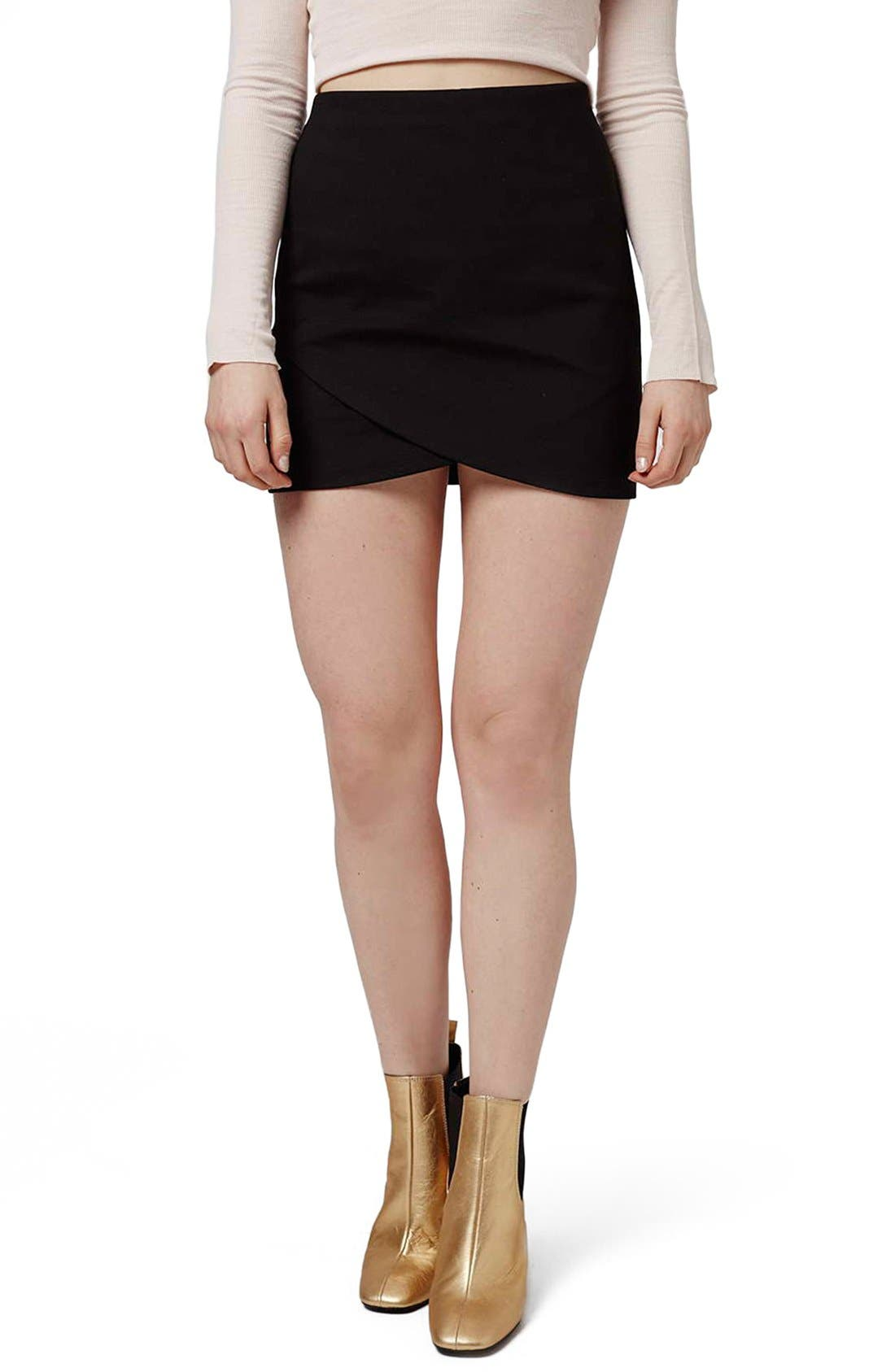 Alternate Image 1 Selected - Topshop Curved Faux Wrap Miniskirt (Petite)