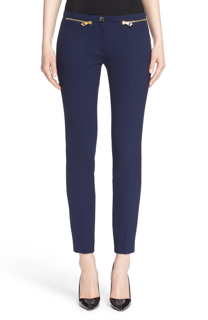 Versace collection zip detail skinny cady ankle pants for Housse zip collection captur