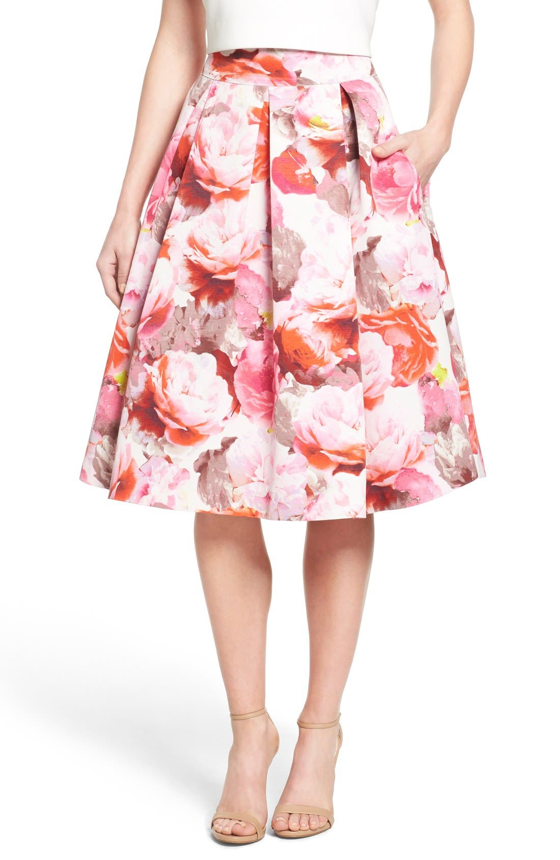 Main Image - Eliza J Floral Print Pleated Midi Skirt