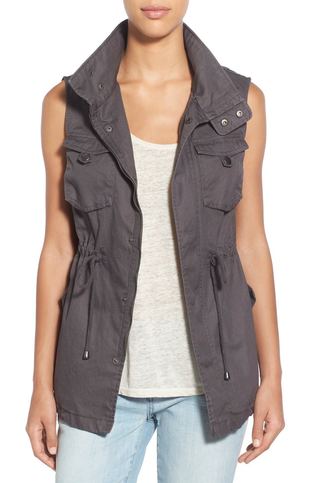 Alternate Image 1 Selected - Pleione Cotton Twill Military Vest (Regular & Petite)